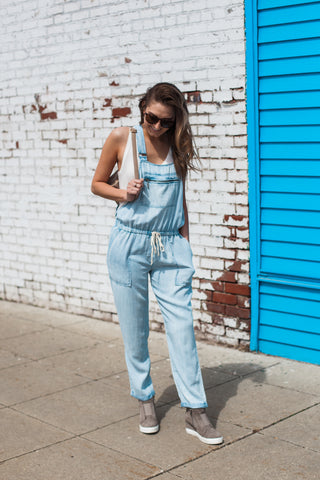 Cassidy Denim Overalls - Light Wash