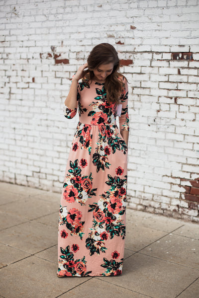 Ashley Floral Maxi Dress - Blush