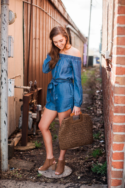 Off The Shoulder Denim Romper