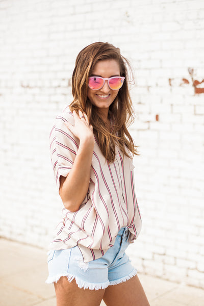 Melissa Striped Top - Blush