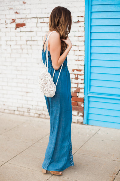 Adley Embroidered Maxi Dress - Denim Blue