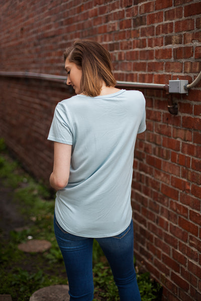 Perfect Front Tuck Tee - Dusty Blue