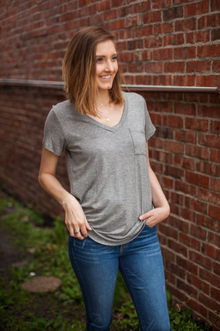 Perfect Front Tuck Tee - Heather Grey