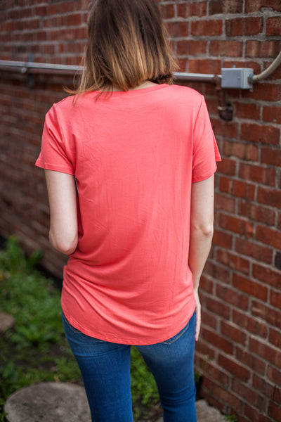 Perfect Front Tuck Tee - Coral