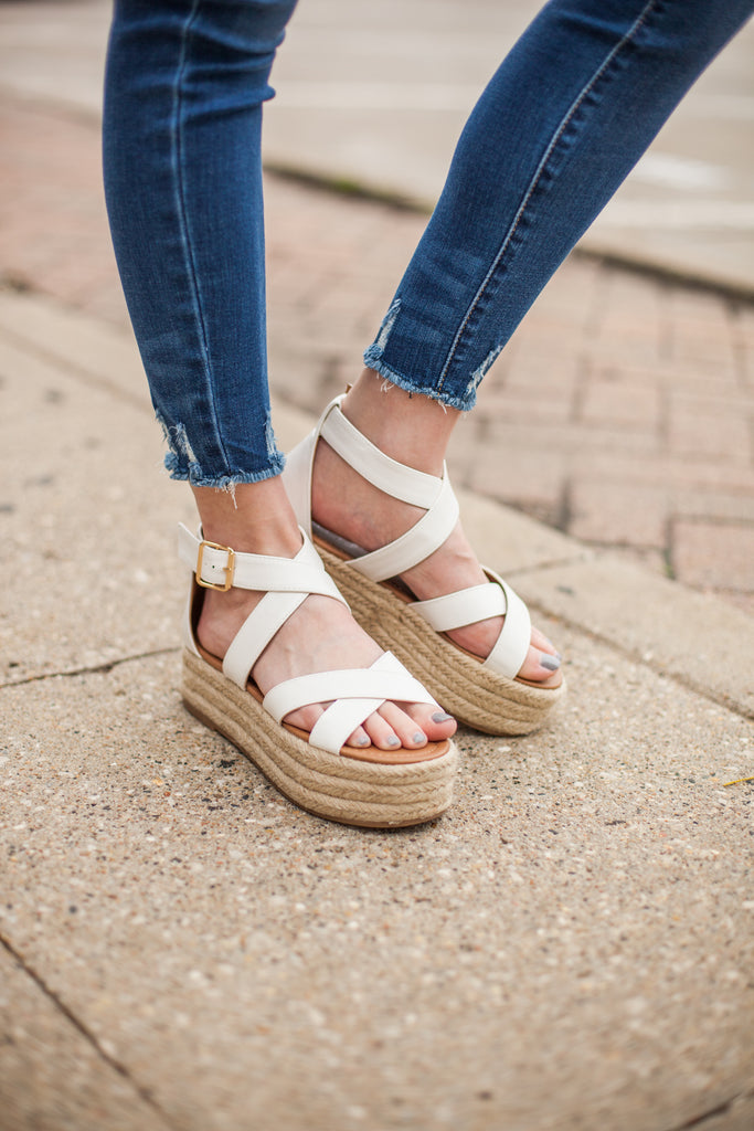 Criss Cross Espadrilles - White