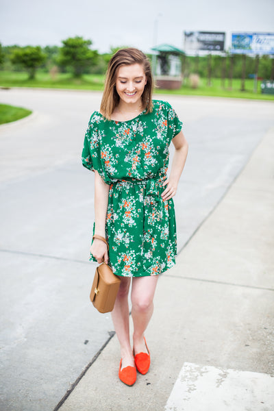 Darci Dolman Sleeve Dress - Green Floral
