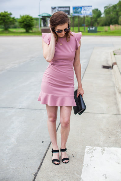 Cassandra Cap Sleeve Dress - Misty Pink