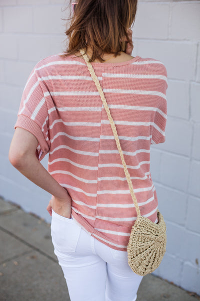 Front Tie Affair Top - Pink/White