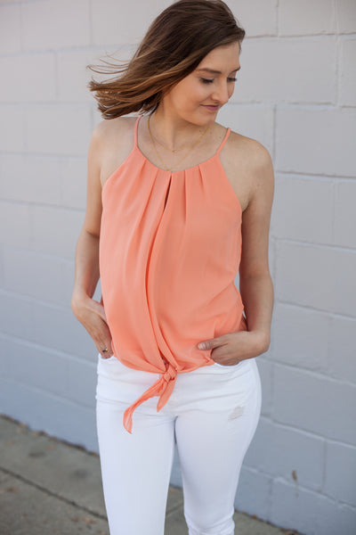 Frankie Pleat Front Tank - Papaya