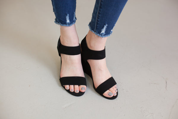 Nova Faux Suede Wedge - Black