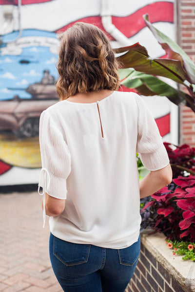 Penny Pleat Sleeve Blouse - Off White