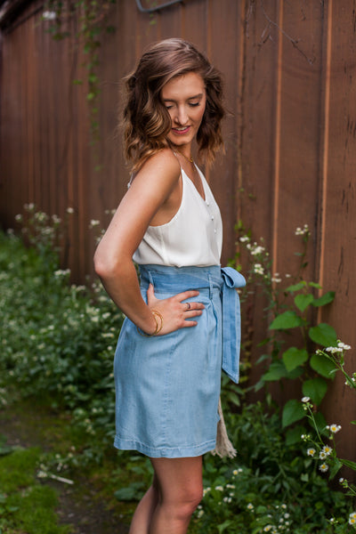 Tess High Waist Tencel Skirt - Light Blue
