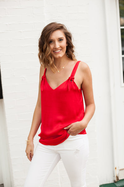 Kelsey Knotted Strap Tank - Red