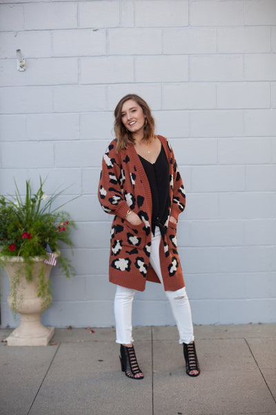 Lifestyle Leopard Sweater - Rust