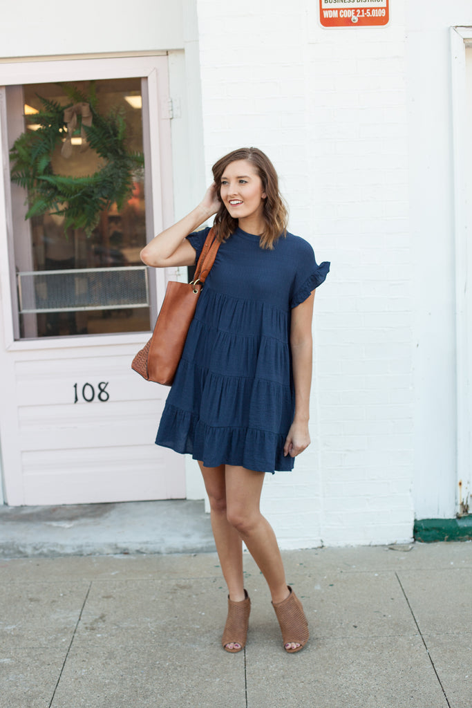 East Coast Tiered Babydoll Dress - Navy