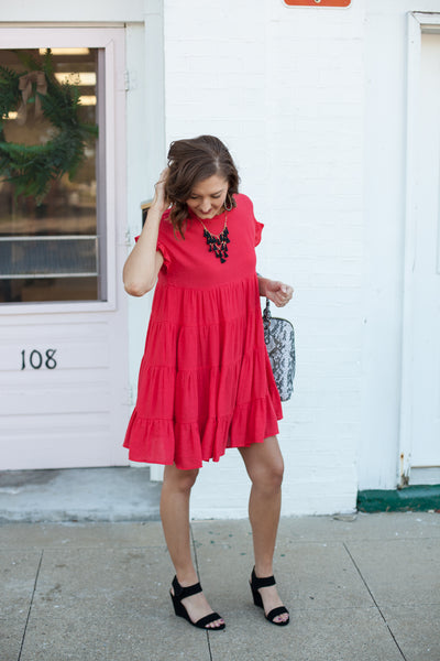 East Coast Tiered Babydoll Dress - Red