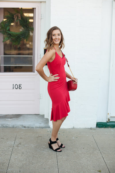 Flora Flounce Dress - Red