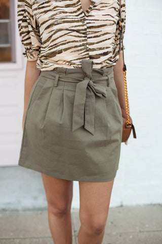 Eden Paper Bag Skirt - Olive