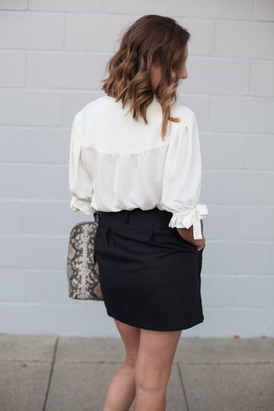 Melrose Button Down Blouse - Ivory