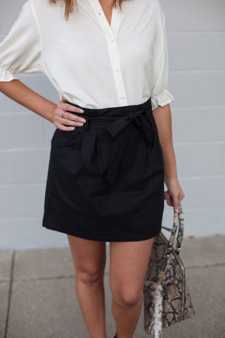 Eden Paper Bag Skirt - Black