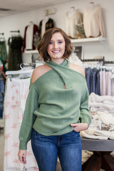 Multi Way Sweater - Moss Green