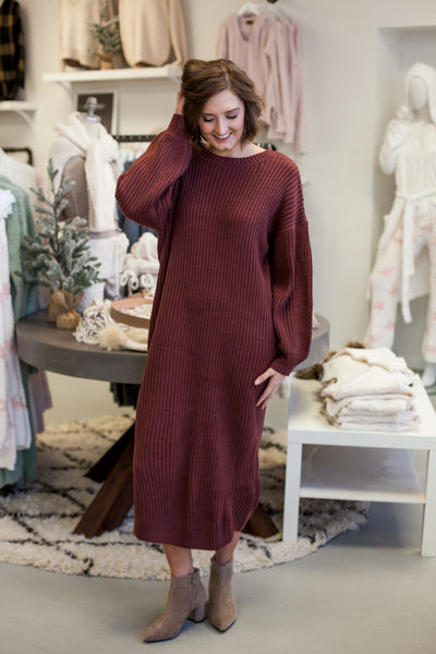 Winston Sweater Dress - Brick