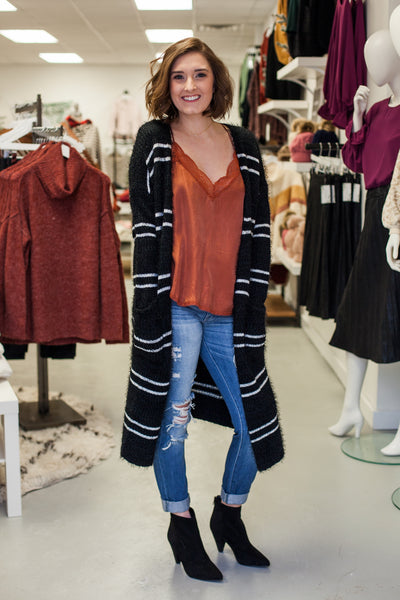 Polar Plunge Striped Cardigan