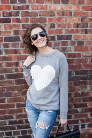 I Heart You Sweater - Grey