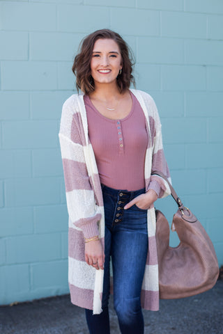 Hadley Striped Cardigan - Ivory/Mauve