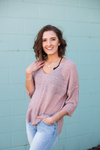 On The Dock Knit Top - Mauve
