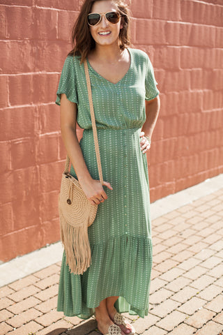Suzie Flutter Sleeve Dress - Sage Green