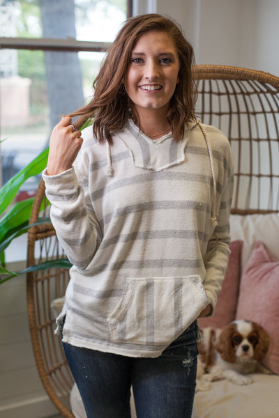 Pensacola Stripe Terry Knit Pullover - Ivory/Grey