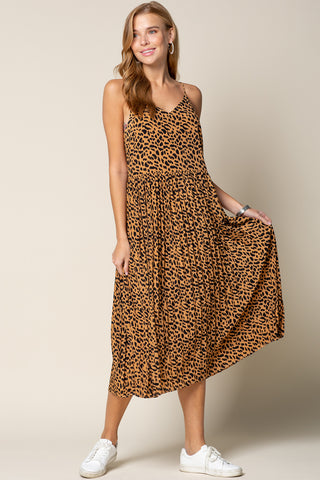 Up Town Pleated Midi Dress - Leopard