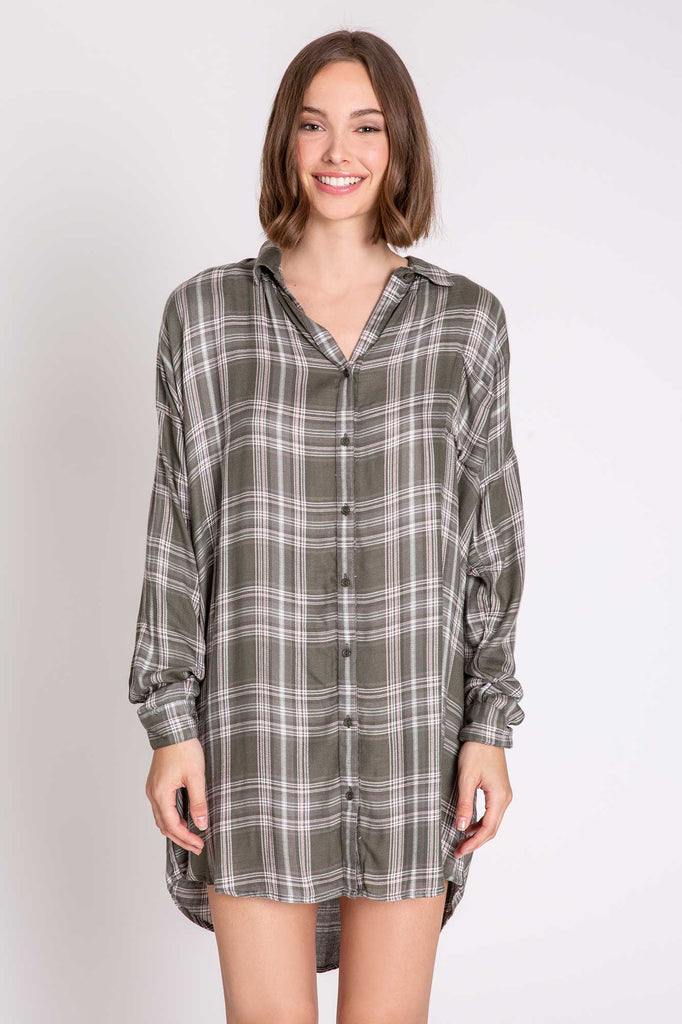 Mad For Plaid Nightshirt - Olive