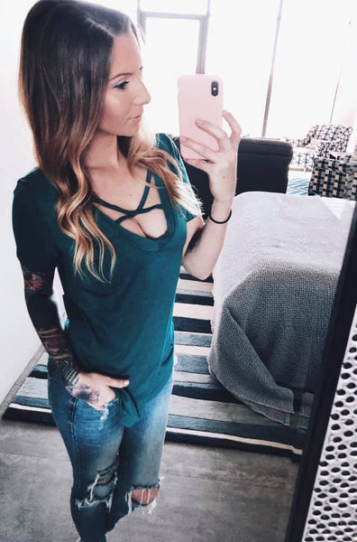 Lauren Criss Cross Tee - Teal