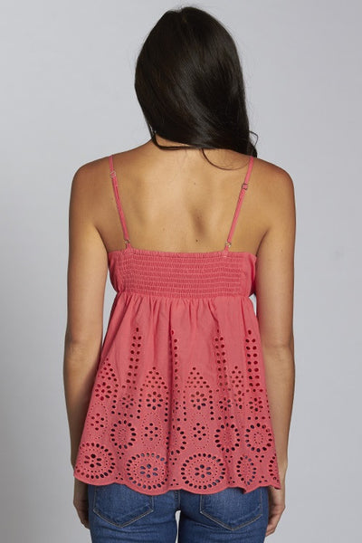 Lacy Eyelet Tank - Coral