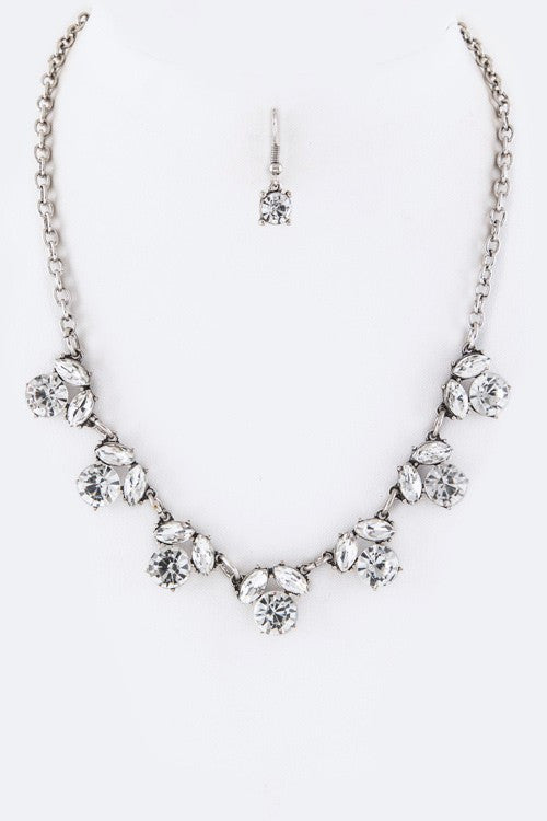 Bella Crystal Necklace & Earrings - Silver
