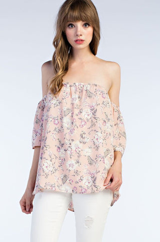 Off the Shoulder Pink Floral