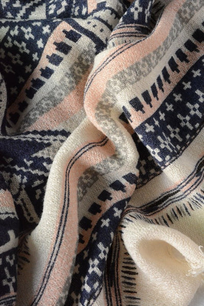 Aztec Blanket Scarf - Cream
