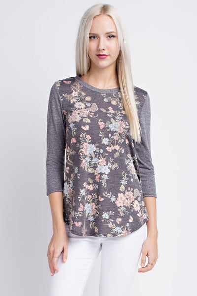 Grey Floral 3/4 Sleeve knit