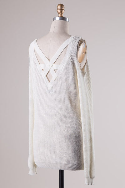 Mia Cold Shoulder Sweater - Ivory
