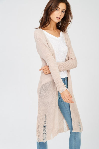 Duffy Distressed Hem Cardigan - Natural