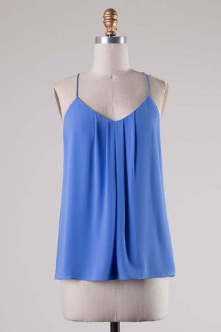 Gabby Gatherd Tank - Blue