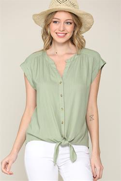 Blaze Button Down Top - Lt. Olive