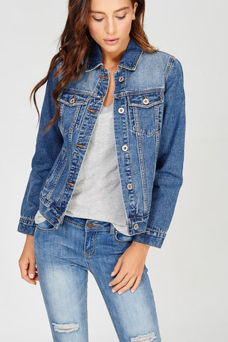 Chelsea Pocketed Denim Jacket - D. Blue