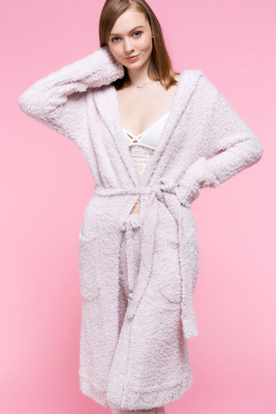 Berber Fleece Open Front Cardi - Powder Pink