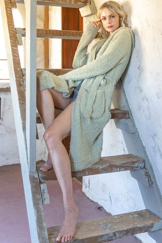 Berber Fleece Open Front Cardi - Sage