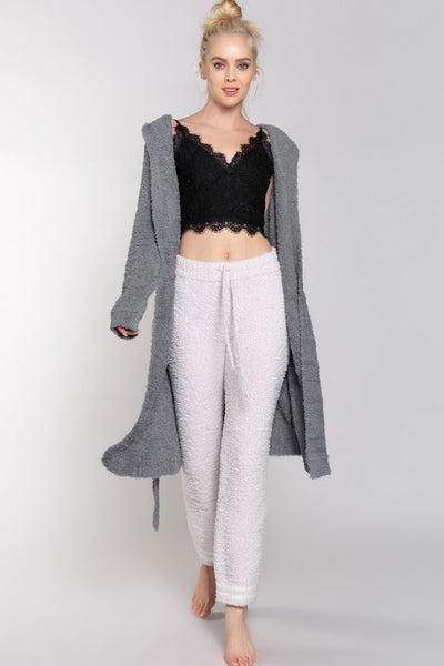 Berber Fleece Open Front Cardi - Grey
