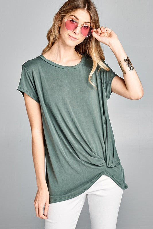 Cooper Short Sleeve Knot Top- Olive