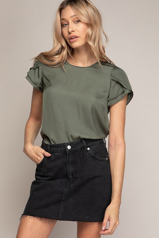 Natalie Ruffle Sleeve Top - Dusty Olive